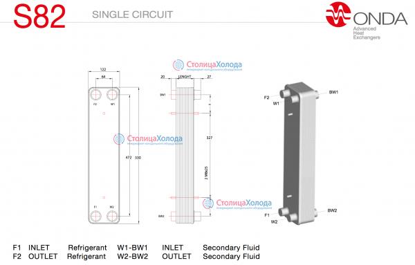 Пластинчатые паяные теплообменники ONDA серии S82 Обнинск Уплотнения теплообменника Kelvion NX250L Подольск